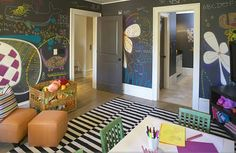 what a fantastic playroom, with wall-to-wall chalkboard paint for little, chalky fingers!