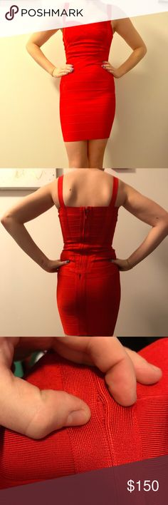 Red Herve Leger bandage dress!! Beautiful red Herve Leger midi bandage dress. Size XS (Extra Small). Made in China. This dress is in used but nice condition, with some signs of wear. Barely noticeable are two small holes on the mid to lower backside of the dress (As shown in pictures). These were caused from wear stress and are simply the result of the thread lining slightly coming undone. This can easily be stitched/repaired whether it be professionally or at home. All in all, a great deal…