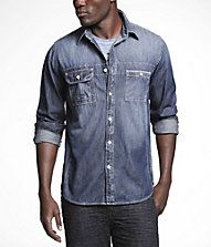 Express Top-Stitch Denim Fitted Shirt.