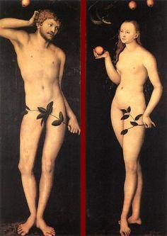 Adam and Eve by Lucas Cranach the Elder, 1528 Northern Renaissance religious painting — Artful for Mac William Blake, Hans Holbein, Religious Paintings, Religious Art, Renaissance Fashion, Renaissance Art, Renaissance Portraits, Dat Adam, Caim E Abel