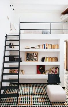 Loft beds are excellent space saving ideas for small rooms. Nothing better than a loft bed makes a small bedroom more spacious, functional and comfortable. Loft beds create extra space by building the bed upward and allowing the space below it to be Bedroom Loft, Home Bedroom, Kids Bedroom, Bedroom Decor, Trendy Bedroom, Mezzanine Bedroom, Bedroom Furniture, Loft Room, Space Saver Bedroom