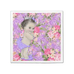 Pink and Purple Baby Shower Paper Napkins