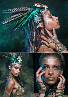 "VIEW ""The Shaman"" — Photographer/Concept: Varun Bondwal Stylist/Hair/Makeup: By Bekka Headpiece: Steve Brown - Contempo Luxe Studio Jewelry: Anissa von Busse - Daughters of Ra Leather Jewelry: Overseas Jewelry Model: Anissa Von Busse Models African Tribal Makeup, Photographie Art Corps, Warrior Makeup, Steve Brown, Estilo Tribal, Photo Portrait, Jewelry Model, Fantasy Makeup, Costume Makeup"