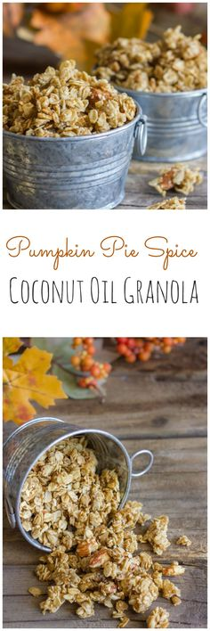 Pumpkin Pie Spice Granola made with coconut oil. Have a parfait stand with all different granola sand fruits. Healthy and romantic Breakfast Recipes, Snack Recipes, Cooking Recipes, Pumpkin Recipes, Fall Recipes, Muesli, Pumpkin Pie Spice, Pumpkin Granola, Pumpkin Puree