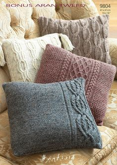 Cushion Covers in Hayfield Bonus Aran Tweed - 9804 - Downloadable PDF. Discover more patterns by Hayfield at LoveKnitting. The world's largest range of knitting supplies - we stock patterns, yarn, needles and books from all of your favourite brands.