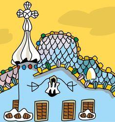Casa Batlló de Gaudí, dibujo de Montse Noguera