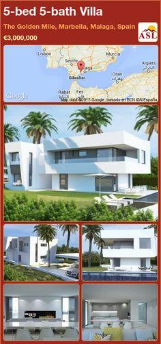 Villa for Sale in The Golden Mile, Marbella, Malaga, Spain with 5 bedrooms, 5 bathrooms - A Spanish Life Marbella Malaga, Open Plan Kitchen Diner, Malaga Spain, Underfloor Heating, Home Cinemas, Murcia, Double Bedroom, Seville, Luxury Villa