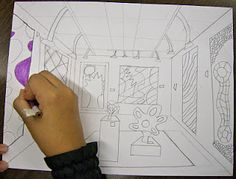 Great lesson idea on perspective drawing: Design your own art gallery!