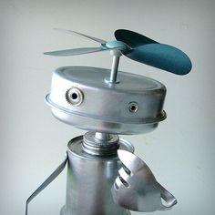 robot sculpture recycled art.
