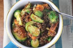 roasted brussels sprouts and sweet potato bowls with maple dijon dressing | Dishing Up the Dirt