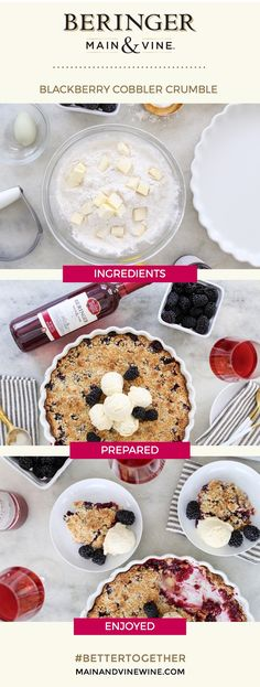 Made from scratch and made for sharing, this Blackberry Cobbler Crumble from @sugarandcharm is the perfect pie for berry season! Tap to create your own summertime recipe pins with our Prepare & Share tool: recipes.mainandvinewine.com Blackberry Dessert, Blackberry Cobbler, Just Desserts, Dessert Recipes, Brunch Recipes, Yummy Eats, Yummy Food, 3 Ingredient Cookies, Summertime Recipe