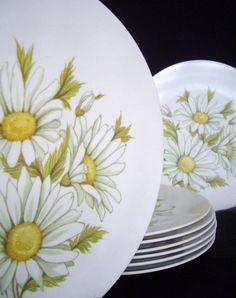 prolon dishes | Daisy Prolon Melmac Dinner Plates set of 8 by myatticstreasures