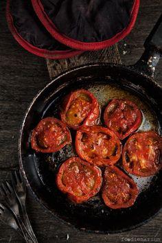 Oven Roasted Tomatoes...... put over spinach, so good and so easy to make! perfect combination to spice up a salad