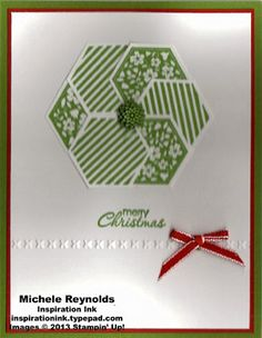 Handmade Christmas card using Stampin' Up! Six-Sided Sampler and Petite Pairs to make punch art wreath.