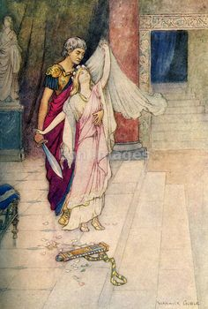 Virginius and Virginia by Warwick Goble Virginius has a pretty daughter. She is spotted by a judge, Appius. His accomplice claims in court that Virginia is his runaway slave and Appius decrees that her father must bring her to the court. Virginius goes home and tells her he must kill her to protect her honour. She agrees, and he cuts her head off. He takes her head to the court and when Appius demands his execution for murder the populace rises up and  Appius goes to jail and kills himself.