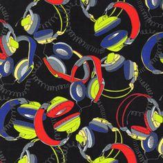 Timeless Treasures House Designer - Totally 80s - Headphones in Multi