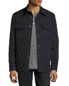 TOM FORD Quilted Shirt Jacket, Navy. #tomford #cloth #