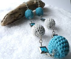 Long Crochet Necklace Retro Jewelry Glass Beads by SteamyLab, $50.00