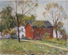 Earl William North- ''The Red Barn at Grand Rapids, Ohio''- oil on canvas, signed Earl North lower left, titled on verso. 16 x 20'' Provenance: Estate of the Artist