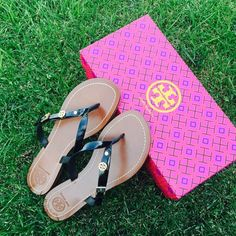 {Tory Burch} Monogram Flat Thong Sandals Gorgeous, comfortable. Brand new in box, never been worn. Please be familiar/know your own Tory Burch sizing. ❗️Price is firm, even when bundled❗️  ❌ No Trades/ No PayPal  ❌ No Lowballing  ✅ Bundle Discounts ✅ Ship Same or Next Day  % Authentic Tory Burch Shoes Sandals