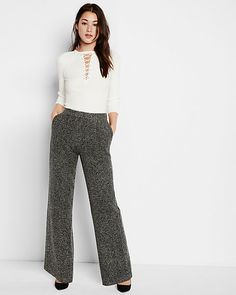 high rise chevron wide leg pant