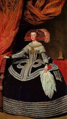Official portrait of Mariana of Austria - Second wife and Queen consort of Philip IV, King of Spain - by Diego Velazquez