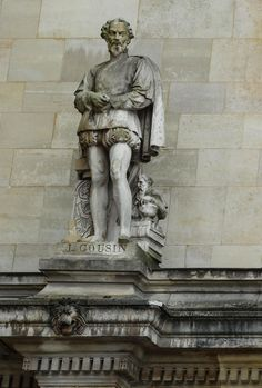 A statue of Jean Cousin, a French painter and engraver, now on the Rotonde d'Appolon of the Louvre and was created by Theodore Jacques. Statues, Louvre, The Shepherd, Wikimedia Commons, 16th Century, Cousins, Art Boards, Pavilion, Renaissance