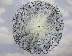 Handmade Navy on White Tulle Lace Doily Head Cover with