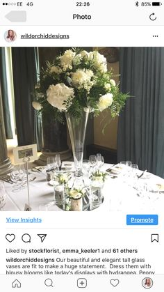 White and green wedding table centrepiece at Woburn Sculpture Gallery Green Wedding, Wedding Flowers, Tall Glass Vases, Wedding Table Centerpieces, Bloom, Sculpture, Favours, Elegant, Gallery