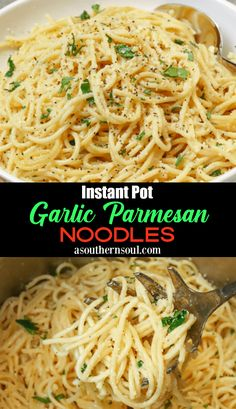 Instant Pot Garlic Parmesan Noodles - A Southern Soul 4 cups chicken or vegetable stock 4 cloves garlic - minced 3 tablespoons butter 1 teaspoon salt 1 pound spaghetti cup Parmesan cheese - grated 2 tablespoon parsley - chopped<br> Instant Pot Pressure Cooker, Pressure Cooker Recipes, Pressure Cooking, Crockpot Recipes, Cooking Recipes, Chicken Recipes, Pasta Recipes, Microwave Recipes, Apple Recipes