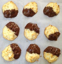Macaroons have been curing sweet tooth's since the 18th century. The earliest versions were either almond or plain. Coconut macaroons started showing up in the early 1800s, but not dipped in chocolate like these. #baking #cookies #yum #history #Friday #treats