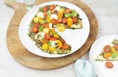 Vegetarische pizza met haverbodem