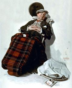 Relaxing in Chair - Norman Rockwell