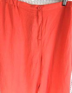 Lane Bryant Women/'s Coral Orange Linen Blend Jogger Pants Plus Sz Elastic 26 28