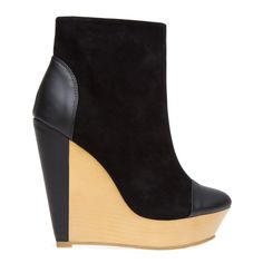 Suede and leather bootie