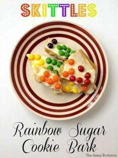 Skittles Rainbow Sugar Cookies Bark Recipe | The Jenny Evolution