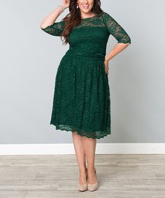 Look what I found on #zulily! KIYONNA Green Ivy Lace Luna A-Line Dress - Plus by KIYONNA #zulilyfinds