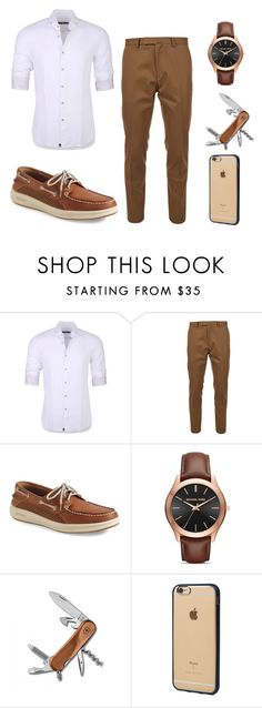"""Classic Man"" by jasendanestyles ❤ liked on Polyvore featuring Stone Rose, Valentino, Sperry, Michael Kors, Victorinox Swiss Army, Incase, men's fashion and menswear"