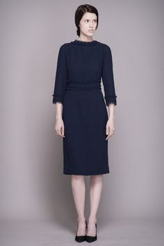 Navy Tweed Dress with Trim Putting On The Ritz, Put On, Tweed Dress, Ivory Dresses, High Neck Dress, Dresses For Work, Chanel, Boutique, Sleeves