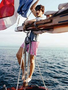 striped shorts + tee, men's fashion / Vincent Banic for GQ France