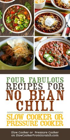 Here are Four Fabulous Recipes for No Bean Chili to make in the slow cooker or the Instant Pot. Whenever you're watching your carbs, No Bean Chili is a delicious option; [featured on Slow Cooker or Pressure Cooker] Chili Instant Pot Recipe, Instant Pot Dinner Recipes, Low Carb Dinner Recipes, Pressure Cooker Chili, Slow Cooker Chili, Pressure Cooker Recipes, Bean Recipes, Chili Recipes, Paleo Recipes