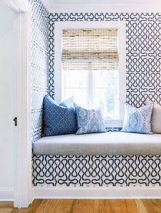 Great mix of blue and white colors and patterns!