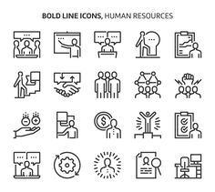 Human resources, bold line icons. The illustrations are a vector, editable stroke, pixel perfect files. Web Design, Line Design, Icon Design, Human Resources, Holiday Competitions, Icon Files, People Icon, Business Icon, Pencil Drawings