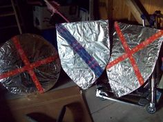 Created these for a prop for VBS Kingdom Rock.  Just cardboard covered with aluminum foil & some Duct tape-AWESOME!