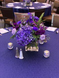 Love this organize purple centerpiece Purple Centerpiece, Centerpieces, Table Decorations, Flowers For You, San Diego Wedding, Floral Crown, Timeless Design, Unique Weddings, Organize