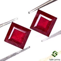 5.91 CTS Natural Ruby Square Cut Pair 7 mm Faceted Well Matched Loose Gemstones GF Semi Precious Gemstones, Loose Gemstones, Natural Ruby, Jewelry Sets, Gifts, Presents, Favors, Gift