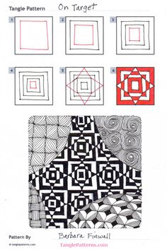 Online instructions for drawing Barbara Finwall's Zentangle® pattern: On Target. Doodles Zentangles, Tangle Doodle, Tangle Art, Zentangle Drawings, Doodle Drawings, Doodle Art, Easy Drawings, How To Zentangle, Easy Zentangle Patterns