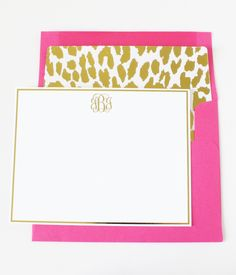Gold Foil Monogram Note Cards with hot pink gold leopard lined envelopes - so chic!