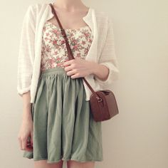 fashion, mint, green, skirt, floral top, leather bag, summer, style