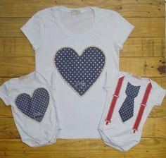 T-shirt bordada tal mãe e tal filha, com opção de gravatinha para os meninos! Muito amor!